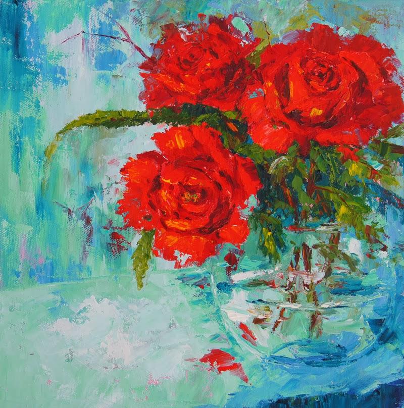 Marions Floral Art Blog Valentine Roses Red Roses Still Life Palette Knife Painting
