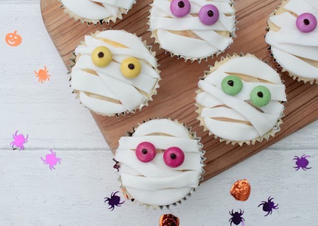 Surprise Inside Halloween Mummy Cupcakes