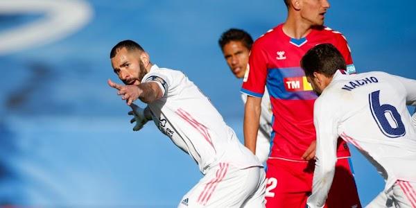 El Real Madrid vence al Elche con doblete de Benzema (2-1)