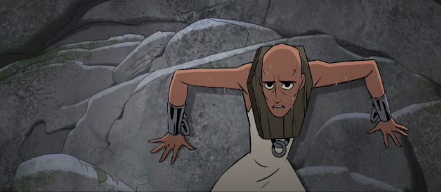 A bald-headed woman , Mia, leans against the cliff face, cornered. Iron manacles tether her wrists and a timber brace is bound around her neck.