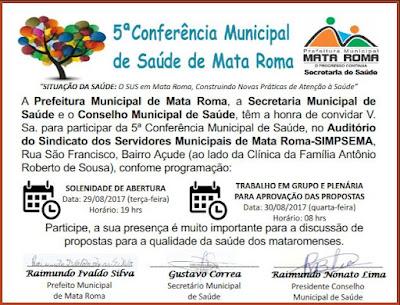 Convite! 5ª Conferência Municipal de Saúde de Mata Roma