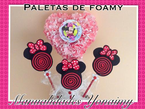Paletas de foamy o goma eva en forma de minnie mouse - Manualidades minnie mouse ...