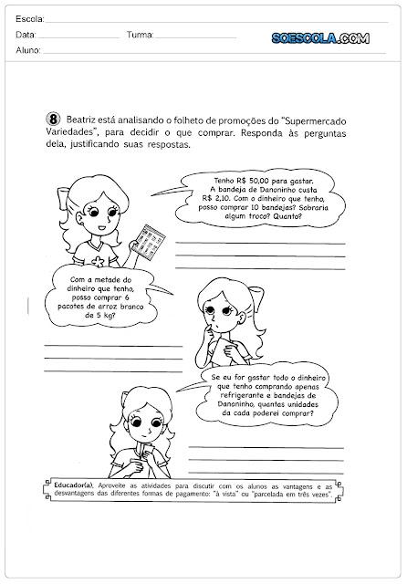 TRABALHANDO EM SALA DE AULA COM DINHEIRO