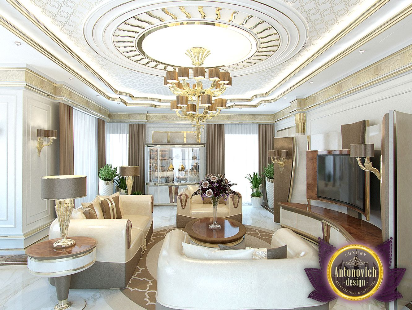 Luxury antonovich design uae family living room design for House get dizain