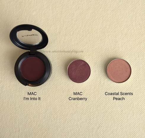 Eyeshadow Combo (MAC I'm into it, MAC Cranberry, Coastal Scents Peach)