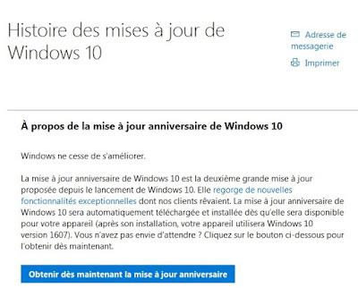 Historique des mises à jours de Windows 10