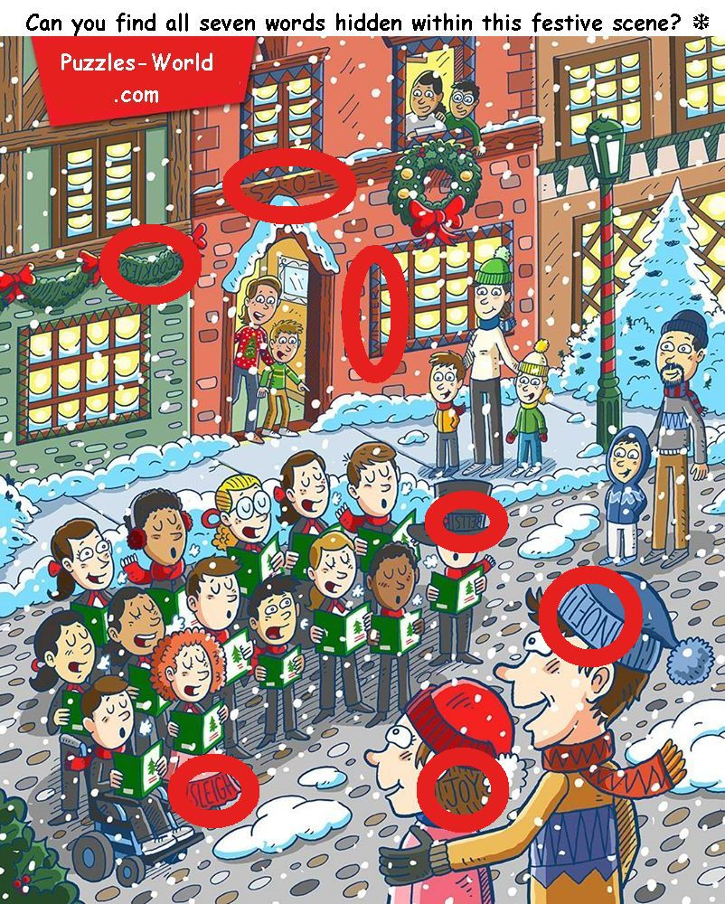 can you find all seven words hidden within this festive scene