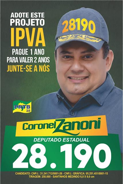 Coronel Zanoni quer o pagamento do IPVA de dois em dois anos!!!