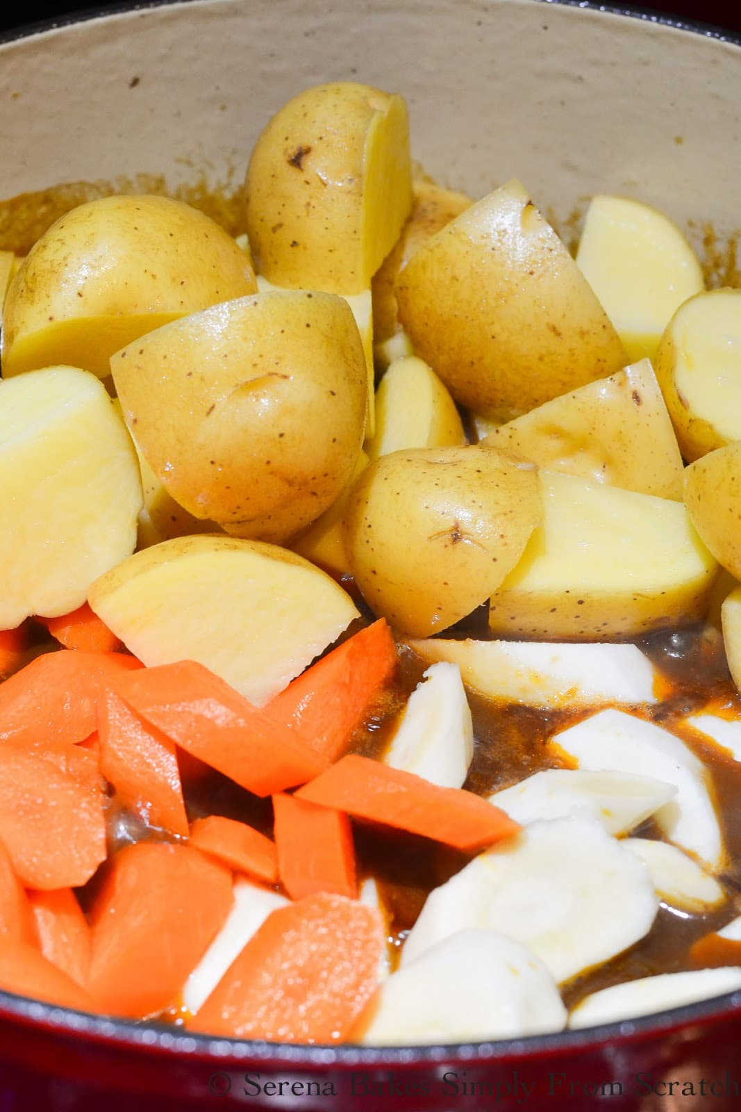 Carrots, yukon gold potatoes, and parsnips added to Guiness Beef Stew recipe.