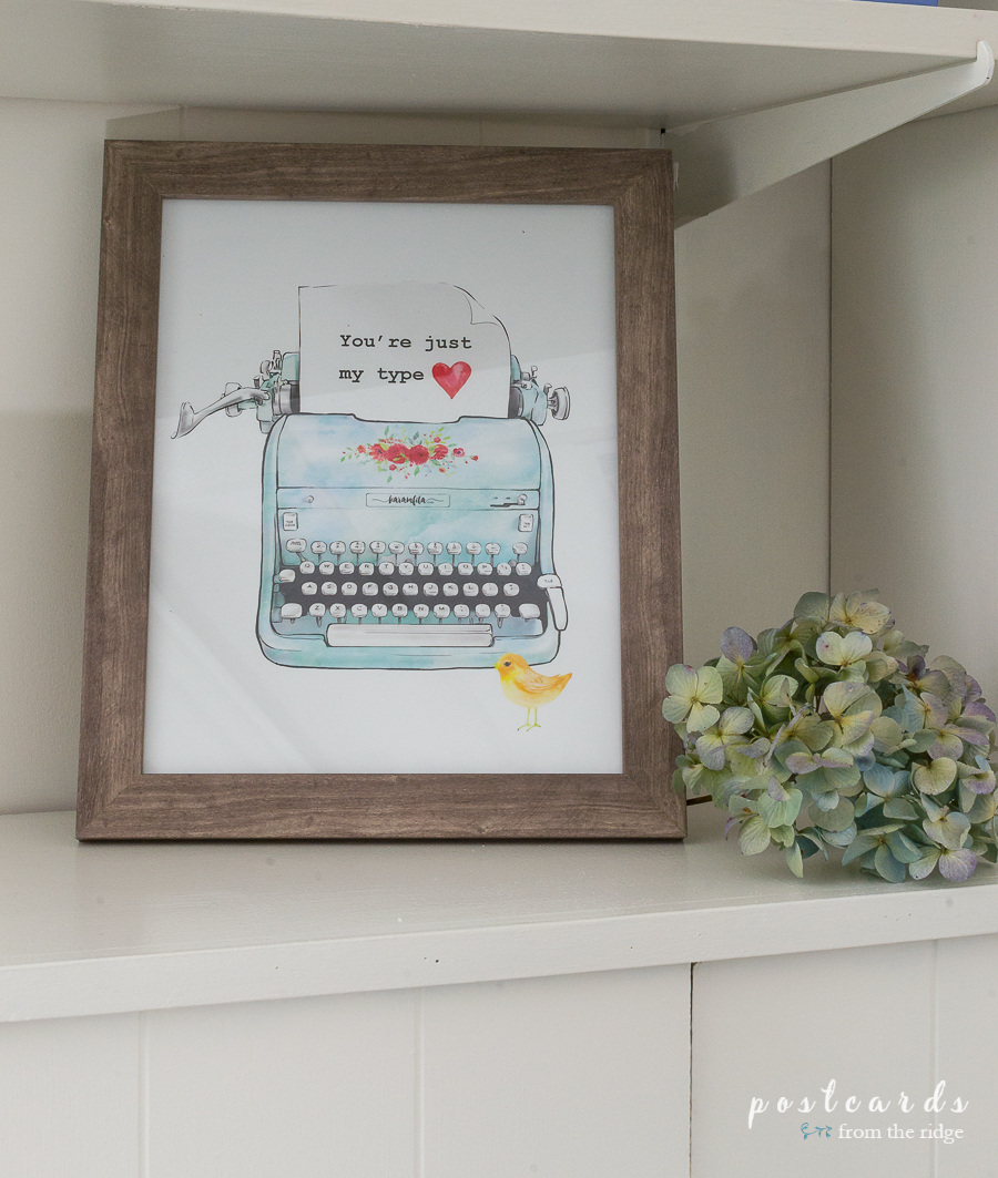 vintage aqua typewriter printable art