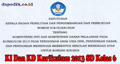 KI Dan KD Kurikulum 2013 SD Kelas 6 Untuk Kondisi Khusus Berdasarkan Keputusan Balitbang kemdikbud Nomor 018/ H/KR/2020