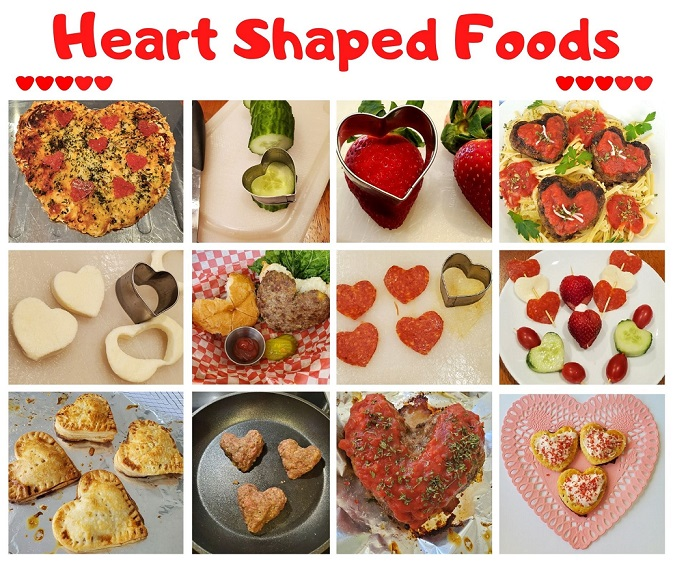 this is a collage of all heart shaped foods