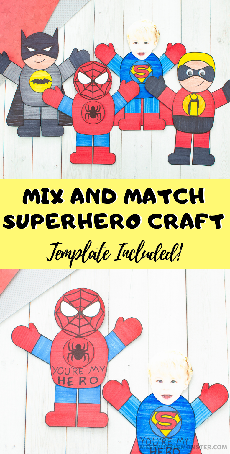 Mix and match superhero craft for kids with printable superhero template. Spiderman craft, Superman craft, Batman craft & The Incredibles craft.