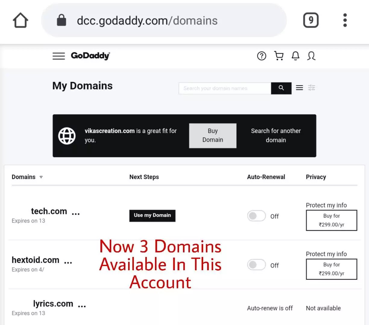 available in Receiver's Account - GoDaddy Domain Transfer