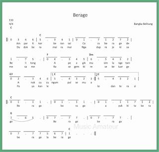 not angka lagu berage lagu daerah bangka belitung