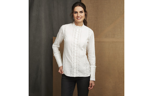 Laura Ashley High Neck Pintuck Lace Detail Blouse