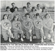 ● A GALLERY OF SCHOOL PHOTOS New! Crawford Girls Track - 1986