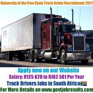 University of the Free State Truck Driver Recruitment 2021-22