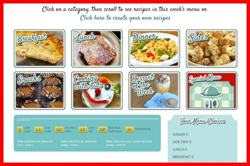 Build-A-Menu offers a variety of recipe types