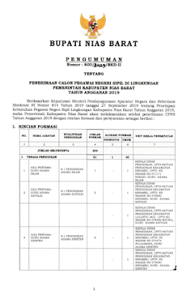 Informasi Penerimaan CPNS Pemkab Nias Barat Sumatera Utara Tahun 2019