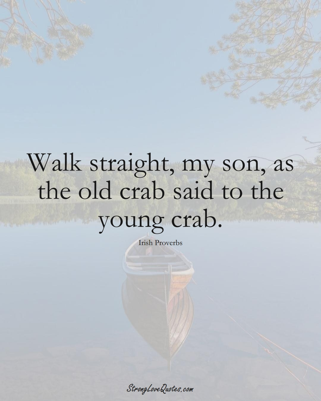 Walk straight, my son, as the old crab said to the young crab. (Irish Sayings);  #EuropeanSayings