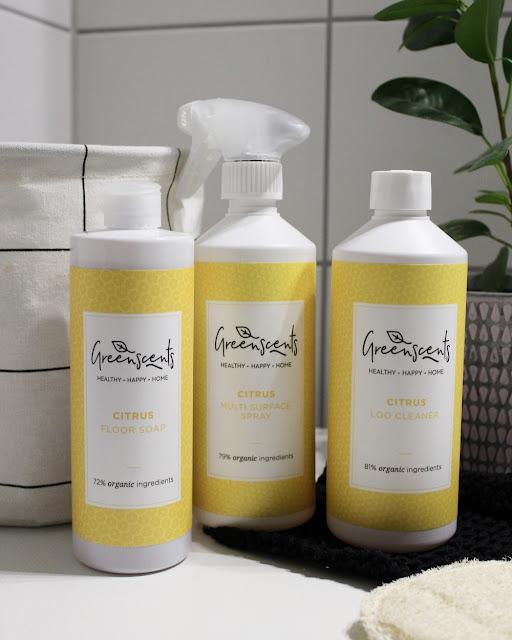 Økologiske rengjøringsmidler, bl.a toalettrens, multispray og gulvsåpe