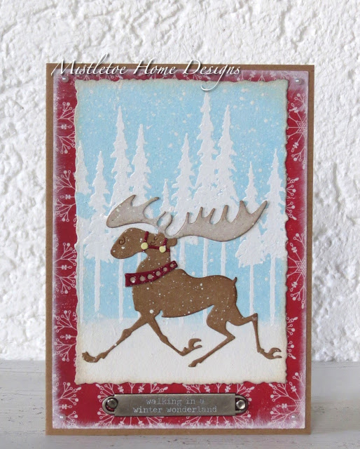 Christmas card with Merry Moose by Tim Holltz