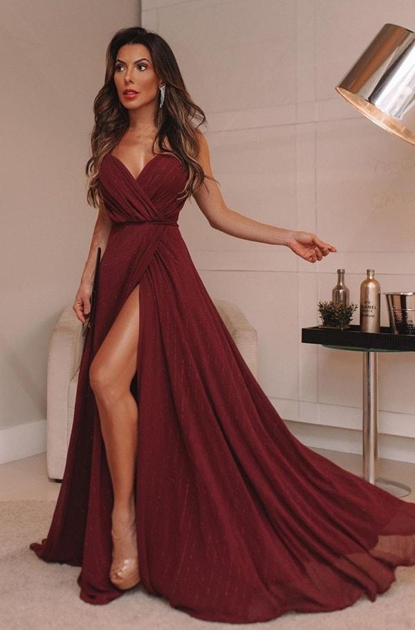 vestido longo marsala transpassado
