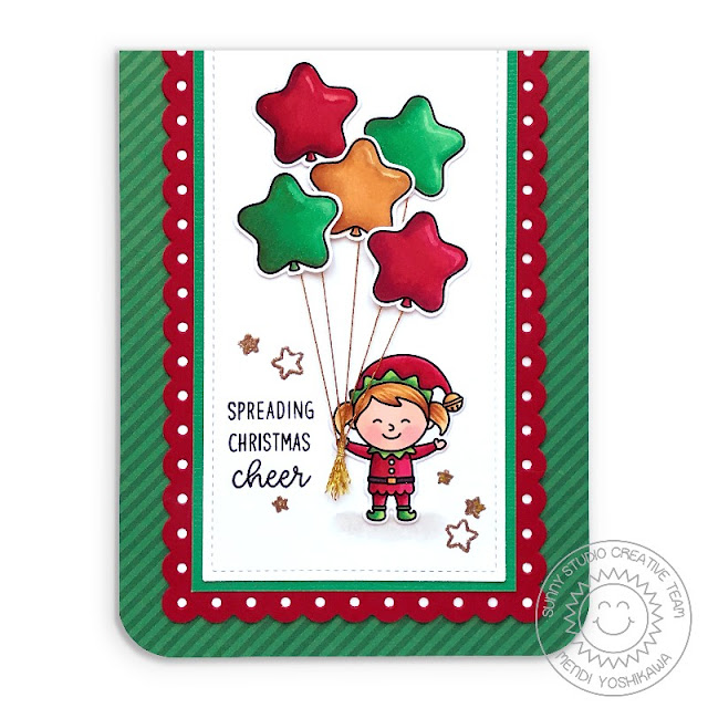 Sunny Studio Spreading Christmas Cheer Holiday Elf with Star Balloons Handmade Card (using North Pole Stamps, Slimline Scalloped Frame Dies, Dots & Stripes Jewel Tones Paper)