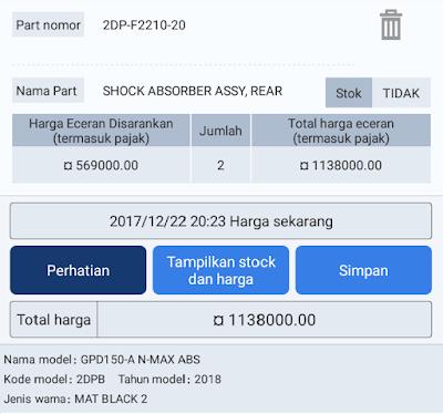 Harga Suspensi Tabung NMax 2018