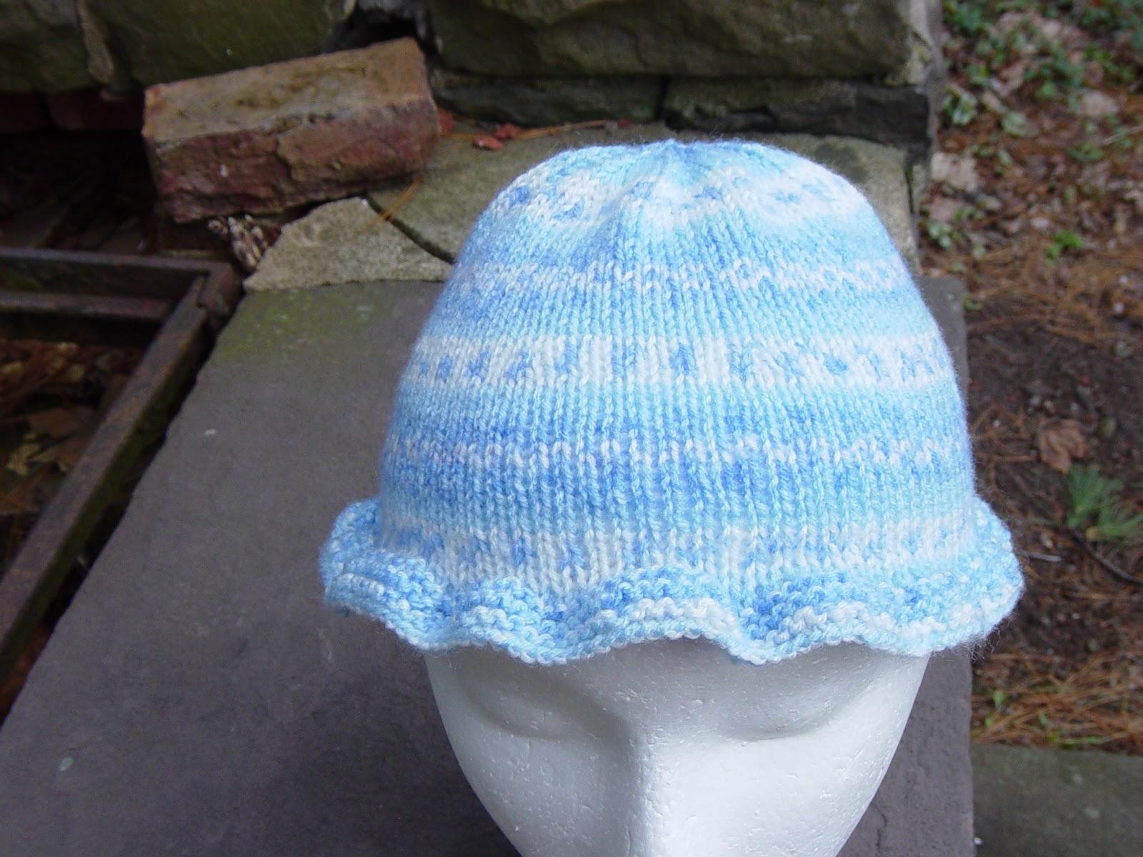 Bernat Baby Jacquards Yarn Knitted Hat Pattern Floral