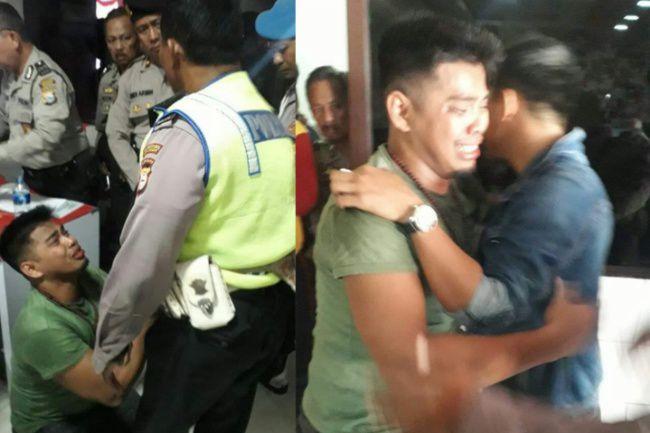 Tonjok Aparat Setelah Melanggar, Pria Kekar Ini Menangis Saat Diamankan Kantor Polisi