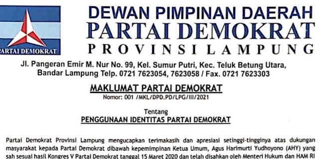 Terbitkan Maklumat, Demokrat Lampung Larang Pemakaian Atribut Tanpa Izin