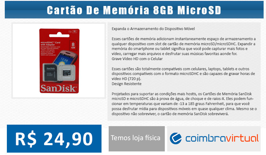Cartao 8GB - Coimbra Virtual