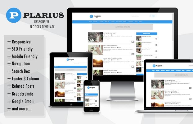 Plarius Blogger template responsive with amp