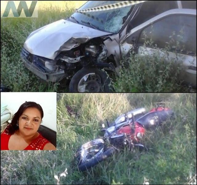 Colisão entre carro e moto deixa uma mulher morta na PE-365 em Serra Talhada