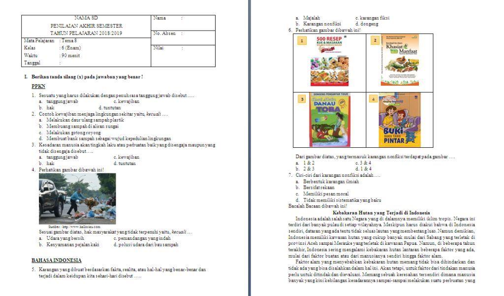 Soal Semester Kelas 6 Tema 8