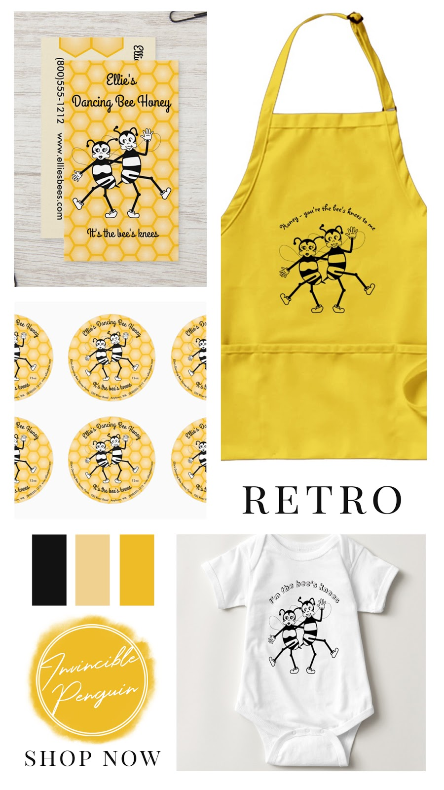 Retro dancing black and white bees and yellow honeycomb patterned background. On kitchen aprons, round stickers, business cards, and apparel. It's the bees knees! In black amber and yellow color palette.