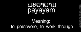Lao word of the day - to presevere, to work through, payayam