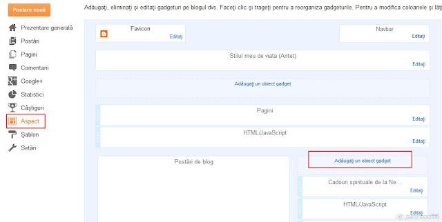 blogspot, adaugare obiect gadget