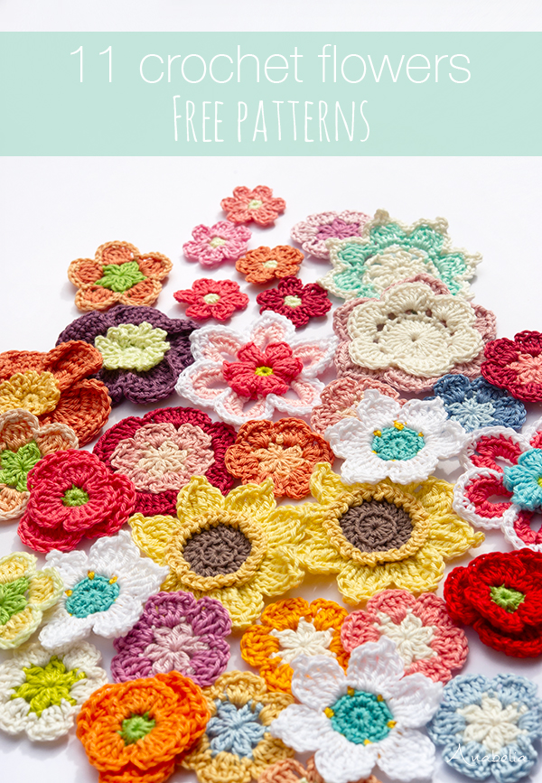 11 Crochet Flowers free patterns, Anabelia Craft Design