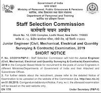 SSC Junior Engineer Examination 2019