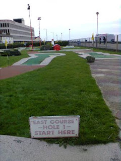 Photo of the sign for the East Course at the Arnold Palmer Minigolf course in Southend-on-Sea