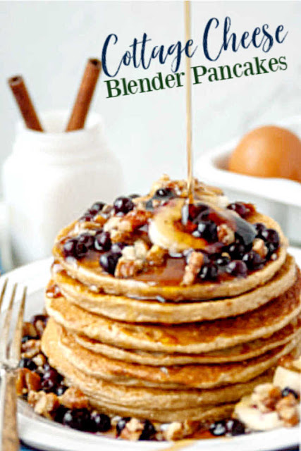 Enjoy your breakfast and feel good about it too! These easy blender pancakes are loaded with the good stuff. There's oatmeal for fiber. Cottage cheese brings some protein and body. There is banana for sweetness too. They all come together for a healthy balanced way to start your day!