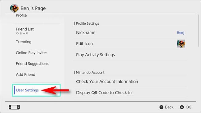 """في صفحة تبديل الملف الشخصي ، حدد """"إعدادات المستخدم""""."""