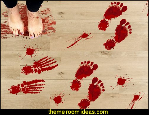 Bloody Footprints Floor Clings - Halloween Vampire Zombie Party Decorations Decals Stickers Supplies Wall Decals