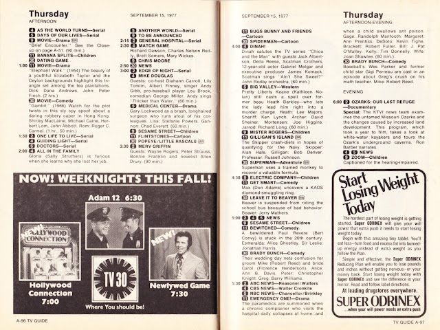Garage Sale Finds: What was on TV September 10th through 16th, 1977