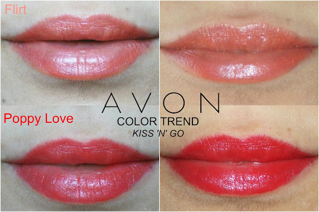 Avon, Color Trend Kiss N Go lipsticks, Flirt, Poppy Love, review, cheap lipstick, swatches, Valentina Chirico, Avon Cosmetics, Beauty for a Purpose