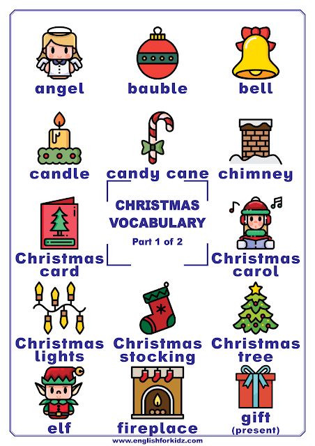 Christmas vocabulary words on printable posters