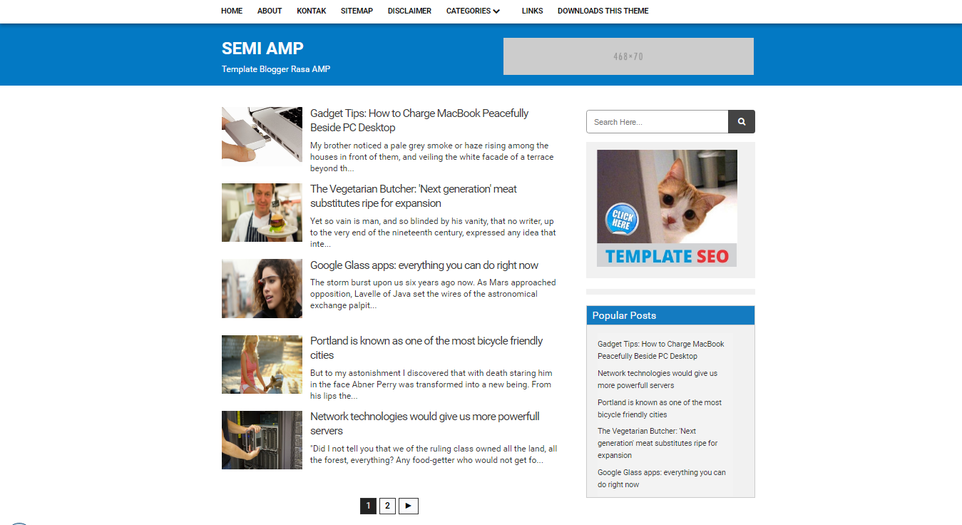 Semi AMP - Blogger Template SEO Friendly And Responsive